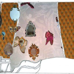 Marie antoinette - interior design - designer Roos Soetekouw - zij aanzicht met spiegels